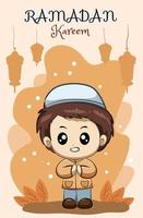 petit garçon musulman heureux à l'illustration de dessin animé de ramadan kareem vecteur