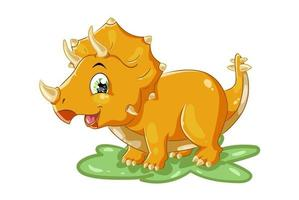 une illustration de dessin animé animal mignon tricératops jaune vecteur