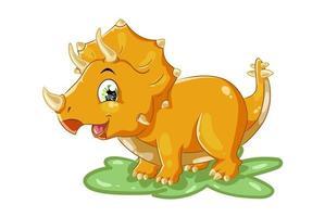 une illustration de dessin animé animal mignon tricératops jaune
