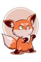 une petite illustration vectorielle de petit renard orange en colère vecteur