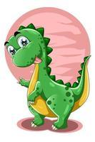 un petit dinosaure mignon avec illustration vectorielle animal fond rose vecteur