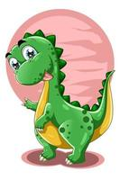 un petit dinosaure mignon avec illustration vectorielle animal fond rose