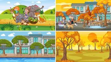 quatre scènes différentes avec un personnage de dessin animé pour enfants vecteur