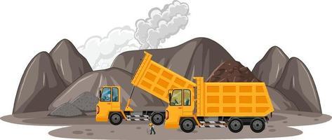 Scène d & # 39; extraction de charbon avec des camions de construction vecteur