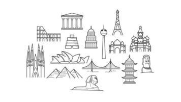 sites célèbres d'architecture du monde isolé sur fond blanc vecteur