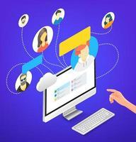 personnes travaillant ensemble à distance via une application. illustration vectorielle isométrique isolée sur fond blanc vecteur