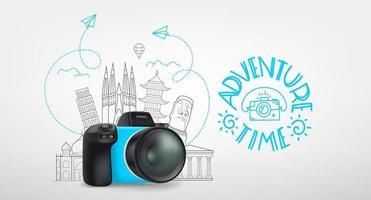 concept de voyage mondial avec appareil photo numérique et logo. temps de l'aventure vecteur