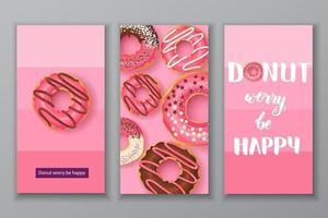 bannières sucrées avec lettrage fait à la main - ne vous inquiétez pas, soyez heureux avec des beignets glacés roses avec du chocolat et de la poudre. conception de la nourriture. peut être utilisé pour la mise en page, la publicité et la conception Web. vecteur