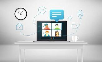 conférence téléphonique avec l'équipe commerciale via une application Web vecteur