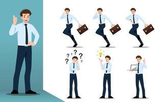 concept de design plat d'homme d'affaires avec différentes poses, travaillant et présentant des gestes, des actions et des poses de processus. jeu de conception de personnage de dessin animé de vecteur. vecteur