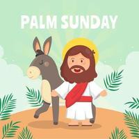 Jésus aime le concept de dimanche des palmiers vecteur