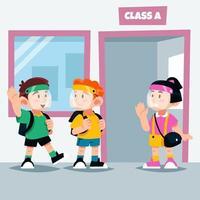 les enfants portant un écran facial se rencontrent à l'école vecteur