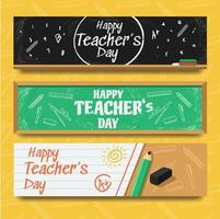 bannière de la journée des enseignants avec des thèmes de papeterie vecteur