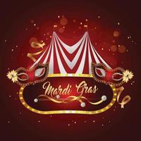 fête foraine de carnaval et chapiteau de cirque avec masque de carnaval vecteur