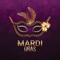 carte de voeux de fête de carnaval avec masque doré vecteur
