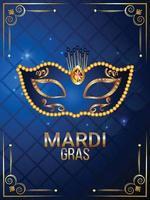 affiche d'événement carnaval brésil avec masque bleu et doré sur fond bleu vecteur