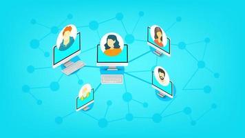 schéma abstrait du réseau de médias sociaux moderne. illustration vectorielle isométrique vecteur