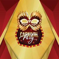 fond rouge et doré du carnaval avec masque doré vecteur