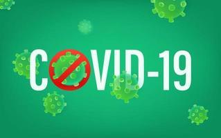 méfiez-vous du concept covid-19. illustration vectorielle avec molécule de virus vecteur