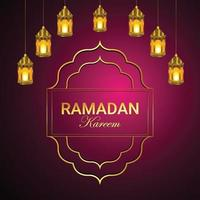 ramadan kareem ou eid mubarak avec lanterne dorée vecteur