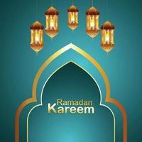 illustration vectorielle ramadan kareem avec lanterne dorée créative vecteur