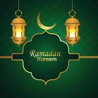 ramadan mubarak ou eid mubarak avec lanterne arabe vecteur