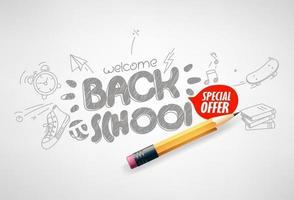 retour à la bannière de vecteur offre spéciale école