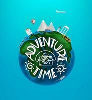 concept de temps d'aventure. illustration de voyage de vecteur avec différents sites et véhicules célèbres