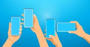 mains avec les smartphones modernes. concept de communication vecteur