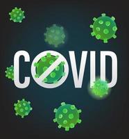 méfiez-vous de covid. illustration vectorielle avec molécule de virus vecteur