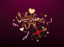 inscription de lettrage brillant et confettis et boîte-cadeau. bannière de la saint valentin vecteur