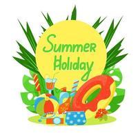 ensemble de choses de voyage, ensemble d'articles pour les vacances d'été, valise, sac à cosmétiques, appareil photo et crème solaire, illustration vectorielle dans un style plat, vacances d'été. vecteur