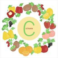 ensemble de fruits et légumes contenant de la vitamine c, fruits et légumes placés autour de la vitamine c, illustration vectorielle dans un style plat sur fond blanc. vecteur