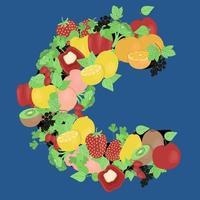 fruits et légumes sous la forme de la lettre c, vitamines saisonnières, image vectorielle dans un style plat. vecteur