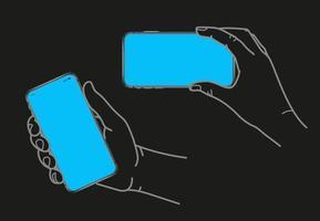 main tenant un smartphone moderne avec écran blanc vecteur