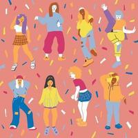 foule de jeunes filles dansant au club. grand ensemble de personnages s'amusant à la fête. illustration vectorielle plat coloré vecteur