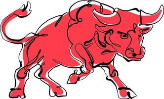 dessin continu d'une ligne du symbole du taureau du nouvel an chinois. 2021, l'année du taureau. vache rouge vecteur