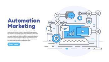 marketing d'automatisation de concept design plat. outils de marketing numérique. vecteur
