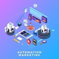 marketing d'automatisation de concept design plat. outils de marketing numérique. modèle de conception pour site Web et bannière. vecteur
