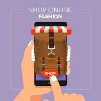 illustrations design plat boutique mobile boutique en ligne. main tenir les achats de mode de vente mobile. vecteur