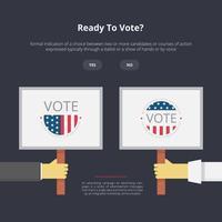 Illustration de signe de campagne, illustration de signe de vote, campagne démocratique de deux côtés vecteur