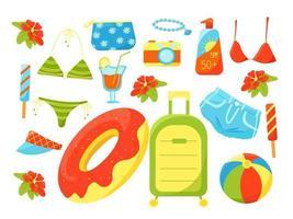 grand ensemble d'été d'articles de vacances, maillot de bain, cocktail, valise, appareil photo, esthéticienne, vacances en mer, ensemble de choses d'été, illustration vectorielle dans un style plat, dessin animé. vecteur