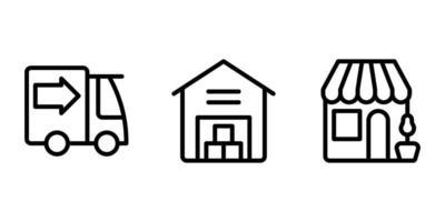 camion, entrepôt, icône de ligne de magasin vecteur