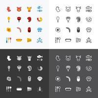 icônes vectorielles plat ensemble de concept de contour des aliments. vecteur