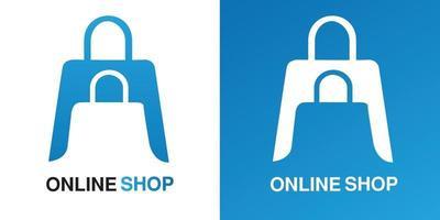 boutique en ligne ou e-commerce espace négatif logo illustration vectorielle de conception simple pour entreprise, entreprise avec dégradé de couleur bleu vecteur