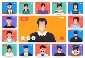 visioconférence concept design plat illustrations. formulaire de travail de réunion en ligne à domicile. appel et vidéo en direct. vecteur illustrent.