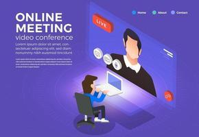 visioconférence concept design plat illustrations. travail de réunion en ligne à domicile. appel et vidéo en direct. vecteur illustrent.