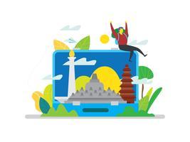 Indonésie Landmark In Bagages vecteur