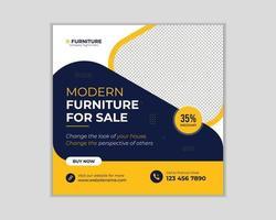 modèle de bannière web de publication de médias sociaux de meubles vecteur
