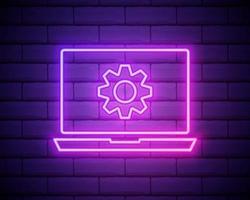 Icône d'ordinateur portable et d'engrenage de ligne néon rougeoyante isolée sur fond de mur de brique. concept de service d'ordinateur portable. réglage de l'application, options de réglage, maintenance, réparation, réparation. illustration vectorielle vecteur